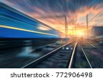 railway station with motion... | Shutterstock . vector #772906498