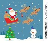 santa flying across the night... | Shutterstock .eps vector #772910404