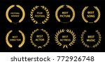 film awards wreaths set.  film... | Shutterstock .eps vector #772926748
