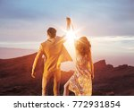 victorious  young couple... | Shutterstock . vector #772931854