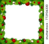 vector christmas frame with red ... | Shutterstock .eps vector #772936330