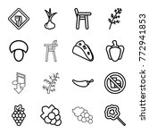 set of 16 eating outline icons...   Shutterstock .eps vector #772941853