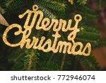 merry christmas gold gleaming...   Shutterstock . vector #772946074