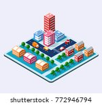 colorful 3d isometric city of... | Shutterstock .eps vector #772946794