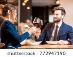 happy business couple having a... | Shutterstock . vector #772947190