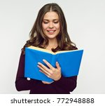 woman student reading book... | Shutterstock . vector #772948888