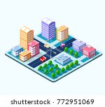 colorful 3d isometric city of... | Shutterstock .eps vector #772951069