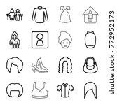 set of 16 woman outline icons... | Shutterstock .eps vector #772952173