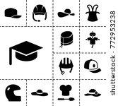 hat icons. set of 13 editable... | Shutterstock .eps vector #772953238