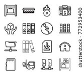 set of 16 storage outline icons ...   Shutterstock .eps vector #772953400