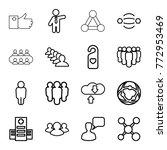 set of 16 social outline icons... | Shutterstock .eps vector #772953469