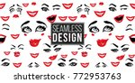 woman smile  cry  laugh  wasn't ... | Shutterstock .eps vector #772953763