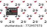woman smirk vector emoticons ... | Shutterstock .eps vector #772957573