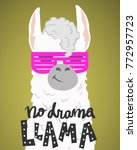 cute cartoon lama alpaca... | Shutterstock .eps vector #772957723