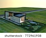 3d design   modern villa  ... | Shutterstock . vector #772961938