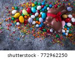 delicious chocolate easter eggs ... | Shutterstock . vector #772962250