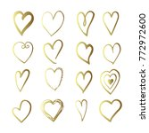 vector gold hand drawn set with ... | Shutterstock .eps vector #772972600