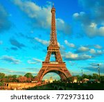 view of the eiffel tower on a... | Shutterstock . vector #772973110