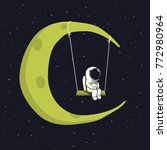 cute astronaut sits on swing in ... | Shutterstock .eps vector #772980964