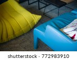 blue leather and yellow textile ... | Shutterstock . vector #772983910