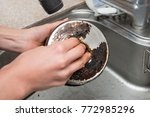 women's hands to polish burned... | Shutterstock . vector #772985296