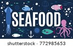 sea animals collection with... | Shutterstock .eps vector #772985653