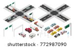 isometric crossroads and city... | Shutterstock .eps vector #772987090