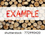 Small photo of Conceptual announcement text caption inspiration showing Example Business concept for Instance Illustration Paradigm For Instance written on wooden background with space