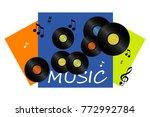 music  abstraction  vinyl ...   Shutterstock .eps vector #772992784