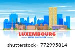 luxembourg city skyline with... | Shutterstock .eps vector #772995814