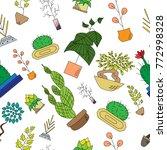 seamless texture of houseplants | Shutterstock .eps vector #772998328
