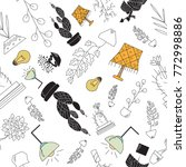 furniture icon seamless pattern | Shutterstock .eps vector #772998886