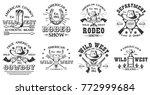 set of vintage monochrome rodeo ... | Shutterstock .eps vector #772999684