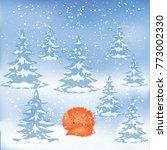 winter landscape   forest  snow ...   Shutterstock .eps vector #773002330