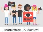 mass protest  flat editable... | Shutterstock .eps vector #773004094