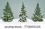 Snow Trees Set On Isolated...