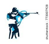 biathlon racer shooting....   Shutterstock .eps vector #773007928