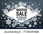 winter sale off template with... | Shutterstock .eps vector #773009488