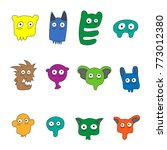 character faces colorful | Shutterstock .eps vector #773012380