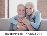 close up portrait of two happy... | Shutterstock . vector #773015044