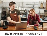 two barista boy and girl... | Shutterstock . vector #773016424