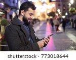 man sending and looking social