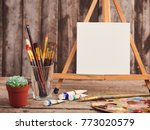 artistic paintbrushes  canvas... | Shutterstock . vector #773020579