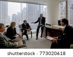 meeting of a team of workers in ... | Shutterstock . vector #773020618