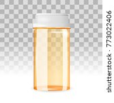 closed and empty pill bottle on ... | Shutterstock .eps vector #773022406
