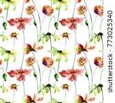 seamless wallpaper with summer... | Shutterstock . vector #773025340
