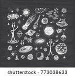 outer space set. cartoon galaxy.... | Shutterstock .eps vector #773038633