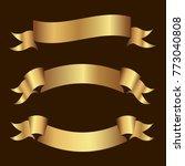 set of golden ribbons vector. | Shutterstock .eps vector #773040808