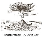 volcano activity with magma ... | Shutterstock .eps vector #773045629