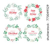 christmas wreaths with berries  ... | Shutterstock .eps vector #773049529